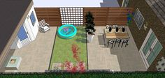 Kid Friendly garden design. Easy to clean ceramic tiles, artificial grass and everything on the same level except for the raised flowerbed.