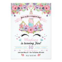 Unicorn Birthday Invitativitation Card - invitations custom unique diy personalize occasions