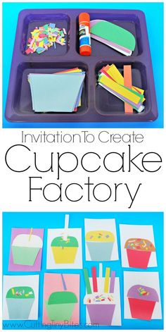 Invitation To Create: Cupcake Factory.  Open ended creative craft for kids.  Great for color recognition & fine motor development.  Perfect for toddlers and preschoolers. #artsandcraftsforkidswithpaper,