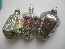 """Vintage Russia Christmas Silver glass ornament """"3 traffic lights """""""