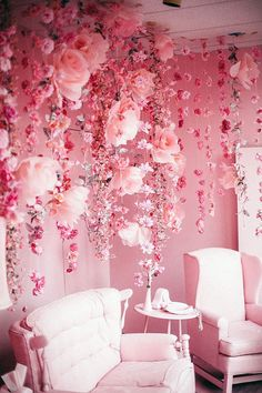 aesthetic Pink room with pink chairs and pink flowers falling / trailing from the ceiling . Pink room with pink chairs and pink flowers falling / trailing from the ceiling My New Room, My Room, Room Art, Deco Rose, Pink Room, Everything Pink, Pastel Pink, Blush Pink, Pink Pink Pink