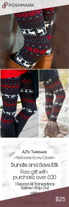 Reindeer Print Holiday Leggings Cute Christmas leggings perfect to make a trendy statement at this festive time of year. OSFM fits size 2-12 well. AJ's Threads Pants Leggings