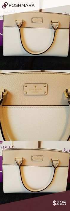 """**PRICE DROP**NWT Kate Spade small satchel NWT Kate Spade small satchel in a Pumice color. Inside lining is white, has an interior zippered pocket & 1 open pocket. Top is zipper closure. Length: 11"""", height 8"""", width 5"""".  MSRP $329.  ** Sorry, no trades. Please do not post offers in comments **  FIRST REASONABLE OFFER TAKES IT kate spade Bags Satchels"""