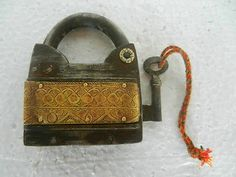 Old Iron Handforged Brass Decorated Push Button Unique Pad Lock , Rich Patina