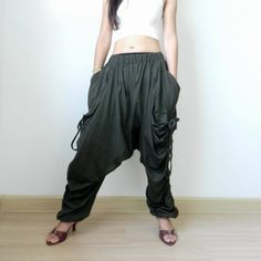 Green Unisex Harem Pants,Extra Long Drop Crotch Trousers, #tribalfashion #CasualDropCrotchPants