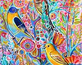 Beautiful birds on the tree-Print from my original watercolor by Tatiana Oles
