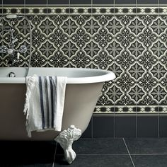 Abbey - - not particularly the style or colours but the way two different tiles work together on floor and wall