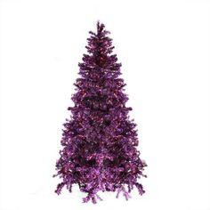7' Pre-Lit Sparkling Purple Artificial Christmas Tree - Purple Lights