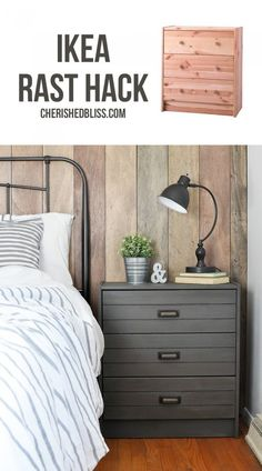 Ikea Rast Hack   Turn a simple dresser into this Printer's Cabinet inspired Rustic Industrial Nightstand