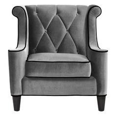 The Armen Living Barrister Chair – Gray Velvet with Black Piping is both posh and professional. This distinguished chair features a tufted seat.