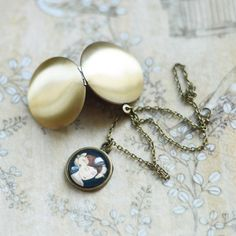 Images Of Women // Pendant-locket metal brass with by OhKsushop