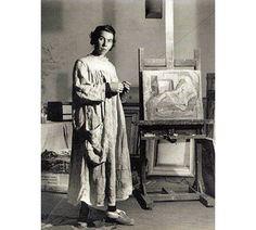 Tove Jansson creatot of the Moomin characters in her Ullanlinnankatu 1 studio in 1944 from www.moomin.com
