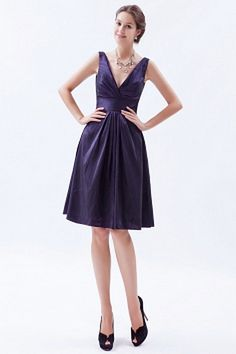 Taffeta V-Neck Classic Party Gown - Order Link: http://www.theweddingdresses.com/taffeta-v-neck-classic-party-gown-twdn0876.html - Embellishments: Ruched; Length: Knee Length; Fabric: Taffeta; Waist: Natural - Price: 147.19USD