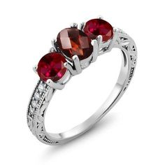 2.12 Ct Oval Checkerboard Red Garnet Red Created Ruby 925 Sterling Silver Ring, Women's, Size: 8