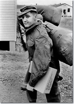 Elvis Presley in his military gear at Ft. Chaffee, Arkansas, March 1958.