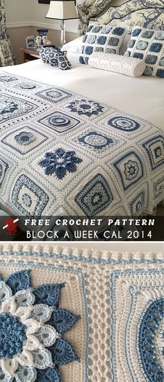 SharonBlignaut's Crochet Block a Week CAL 2014 Free SharonBlignaut's Crochet Block a Week CAL 2014 Free,Crochet This stunning project was created by Sharon Blignaut basing on great idea Block a Week CAL This project counts thousands of. Crochet Afghans, Crochet Bedspread Pattern, Crochet Quilt, Crochet Blocks, Granny Square Crochet Pattern, Afghan Crochet Patterns, Crochet Home, Crochet Crafts, Free Crochet
