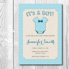 baby shower invitation baby blue  bow tie polka by irinisdesign