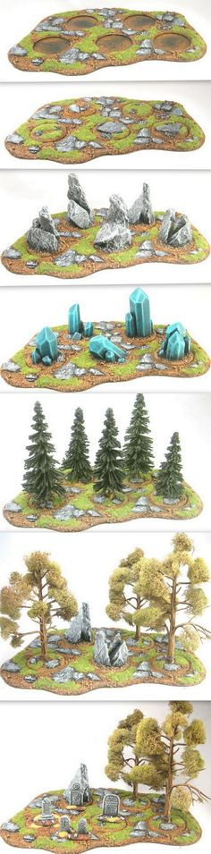 wargmaers : The same area terrain base can create many different types of terrain. - même base, plusieurs possibilités de décors.