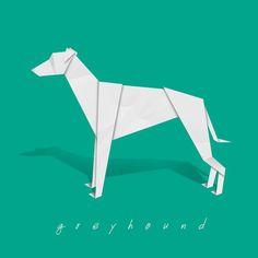 Greyhound art - dog art print of origami design