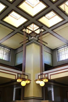 """Frank Lloyd Wright's Unity Temple (1906) was the first public building in America to be built entirely of exposed concrete. Wright said, the space is flooded """"with light from above to get a sense of a happy cloudless day into the room... the light would, rain or shine, have the warmth of sunlight."""""""