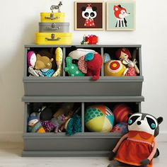 Kids' Toy Boxes: Kids Wooden Primary Stacking Storage 2 and 3 Bin in Toy Boxes & Bins | The Land of Nod