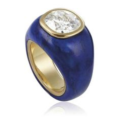 JAR Paris. A DIAMOND AND LAPIS LAZULI RING, MOUNTED BY JAR. Centering an old cushion-shaped diamond, inset within a lapis lazuli hoop, ring size 7, with French assay mark for gold. Unsigned. Estimate USD 30,000 - USD 50,000 / [C. Magnificent Jewels 14 November 2017, Geneva] #JAR #JARParis #JoelArthurRosenthal
