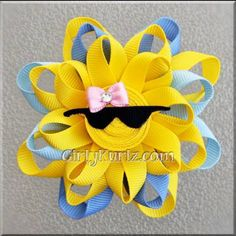 BLUE Sun Ribbon Sculpture Hair Clip Loopy Hair Bow by GirlyKurlz, $6.50