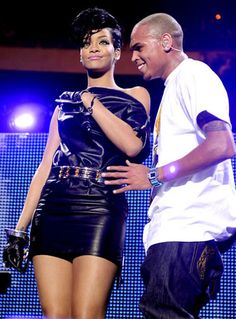 Rihanna & Chris: Through the Years - Us Weekly Halle Berry Body, Chris Brown Pictures, Rihanna, Celebrity News, Leather Skirt, Couples, Celebrities, Rebel, Random Stuff