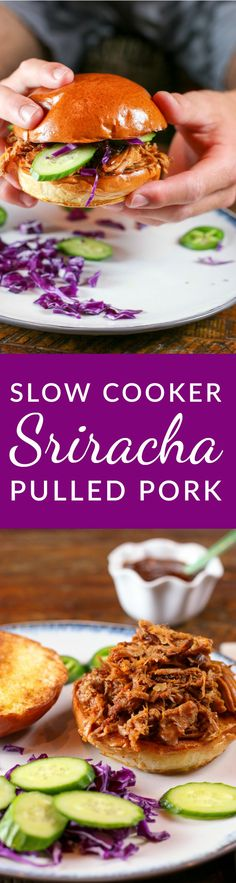 This recipe is a slow-cooker version of Sweet and Sriracha Spicy Oven Roast Pulled Pork by White on Rice Couple. Use this pulled pork to make delicious sandwiches or spicy tacos.