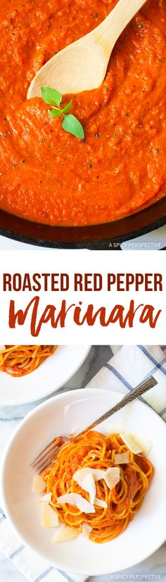 The Best Roasted Red Pepper Marinara Recipe (Vegan, Gluten Free & Delicious!) via @spicyperspectiv