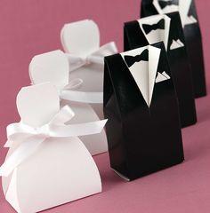Novio y Novia: cajitas para recuerditos de bodas. Tutorial con plantillas.
