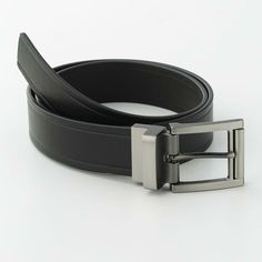 New APT 9 Men's Black/Brown Reversible Bridle mens slide buckle belt