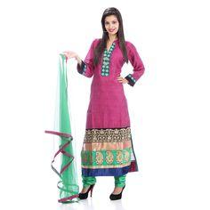 Elegant V-Neck Collared Party Wear Cotton Wine Salwar Suit By Return Favors