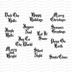 Vintage Old English Christmas Words & Phrases Christmas Words And Phrases, English Christmas, Cursive Letters, Typography, Lettering, Vector Clipart, Old English, Clip Art, Victorian
