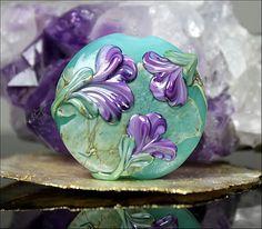 GemsInBloom  Raised Floral Lentil Focal Lampwork by gemsinbloom, $20.00