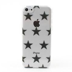 Transparent Black Stars Style Hard Back Case for iPhone 5C - USD $ 2.99