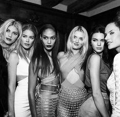 Devon Windsor, Doutzen Kroes, Joan Smalls, Lily Donaldson, Kendall Jenner, Alessandra Ambrosio for Balmain PFW 2015