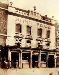 The Blind Beggar Public House, Celebrated/Notorious East End London Boozer, alwa. Victorian London, Vintage London, Old London, Victorian Street, Time In England, England Uk, British Pub, British History, British Rock