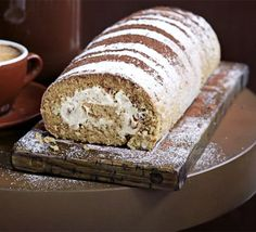 coffee walnut swiss roll