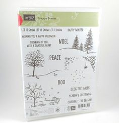 Stampin Up HAPPY SCENES Christmas Holiday Winter Fall Photopolymer Stamp Set  #StampinUp