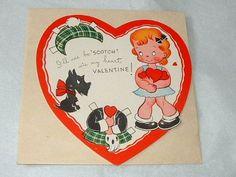 Vintage Valentine Card Paper Doll Scotch Girl Scottie
