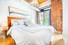 Toronto Lofts, Juliet Balcony, Exposed Brick Walls, Wood Ceilings, Beams, The Unit, House Design, Flooring, The Originals