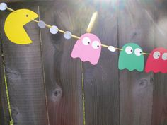 Retro PACMAN Paper and Ribbon Handmade Pennant Banner Bunting -- LARGE. $13.00, via Etsy.