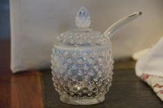 RARE Vintage 50\'s Fenton Glass Opalescent Hobnail Mustard Jar with Spoon. Starting at $25