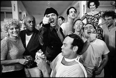 The cast of One Flew Over the Cuckoo's Nest posing for their picture on location at the Oregon State Hospital, Salem, Oregon 1974 - Mary Ellen Mark