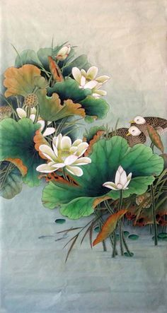 Chinese Lotus Lotus x x Painting. Buy it online from InkDance Chinese Painting Gallery, based in China, and save Lotus Painting, China Painting, Artist Painting, Lotus Flower Art, Lotus Art, Japanese Painting, Japanese Art, Watercolor Flowers, Watercolor Art