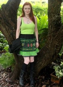 Bright Green #Hmong Embroidery #Indigo Batik and Colorful Applique #Womens #Ethnic #Skirt