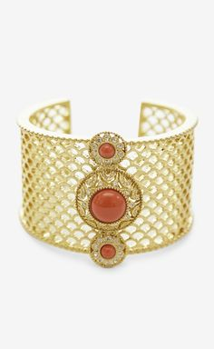 Unknown Gold, Orange And Crystal Bracelet   VAUNTE