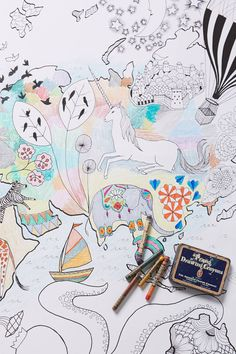 Let's Travel Coloring Mural - anthropologie.com