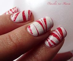 new year finger nails | red white marbled christmas nails » Favnails